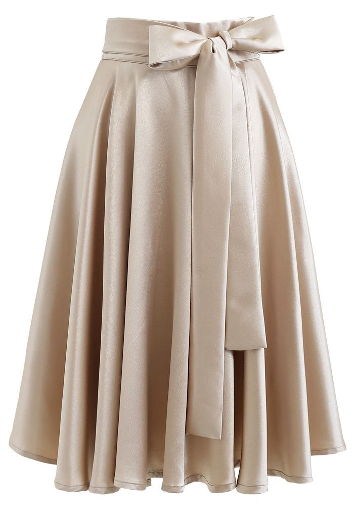 Flare Hem Bowknot Taille Midi Rock in Gold