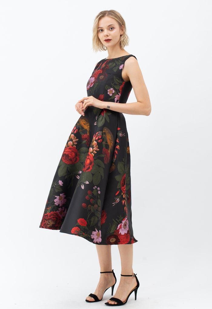 Wunderschönes ärmelloses Rose Jacquard Midikleid