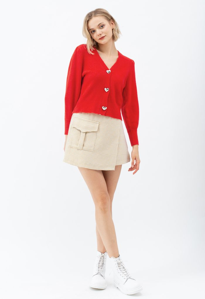 Heart Button Puff Sleeves Knit Cardigan in Red