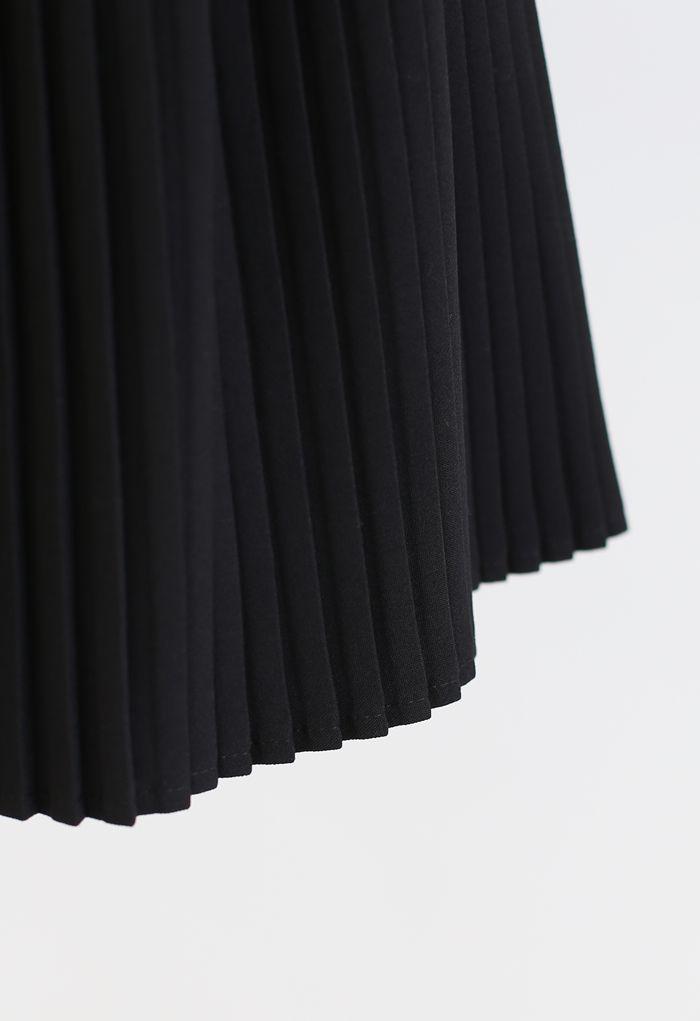 Plissee-Minirock von Horsebit Trims in Schwarz
