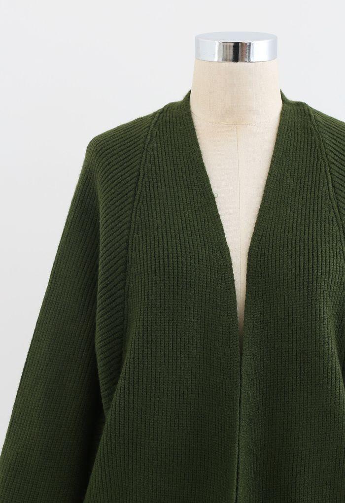 Batwing Ribbed Knit Longline Cardigan in Grün