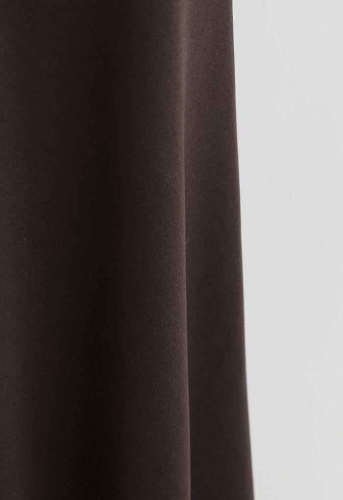 Basic-Naht-Midirock mit hoher Taille in Braun
