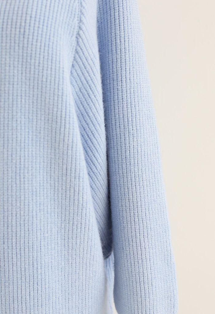 Batwing Ribbed Knit Longline Cardigan in Babyblau