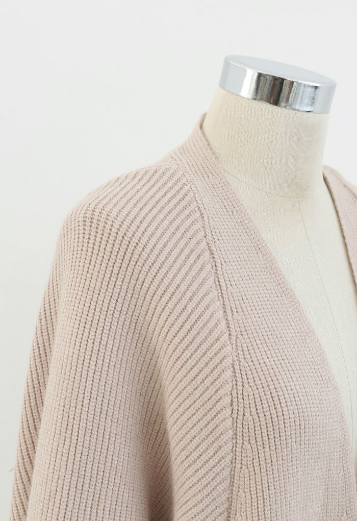 Batwing Ribbed Knit Longline Cardigan aus Sand