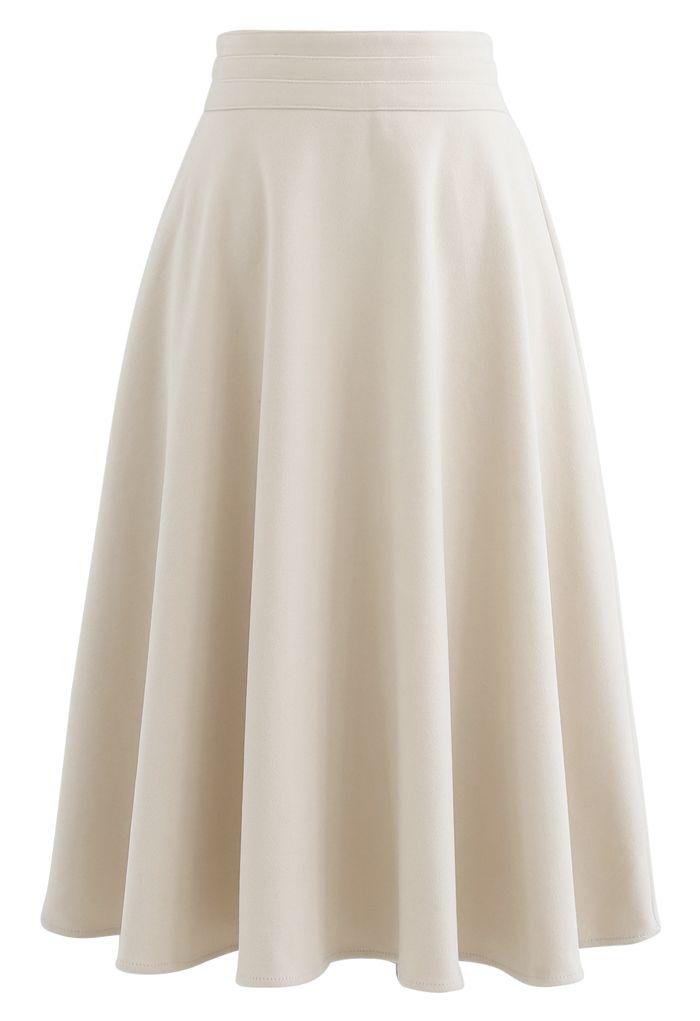 High Waist A-Line Flare Midi Skirt in Cream