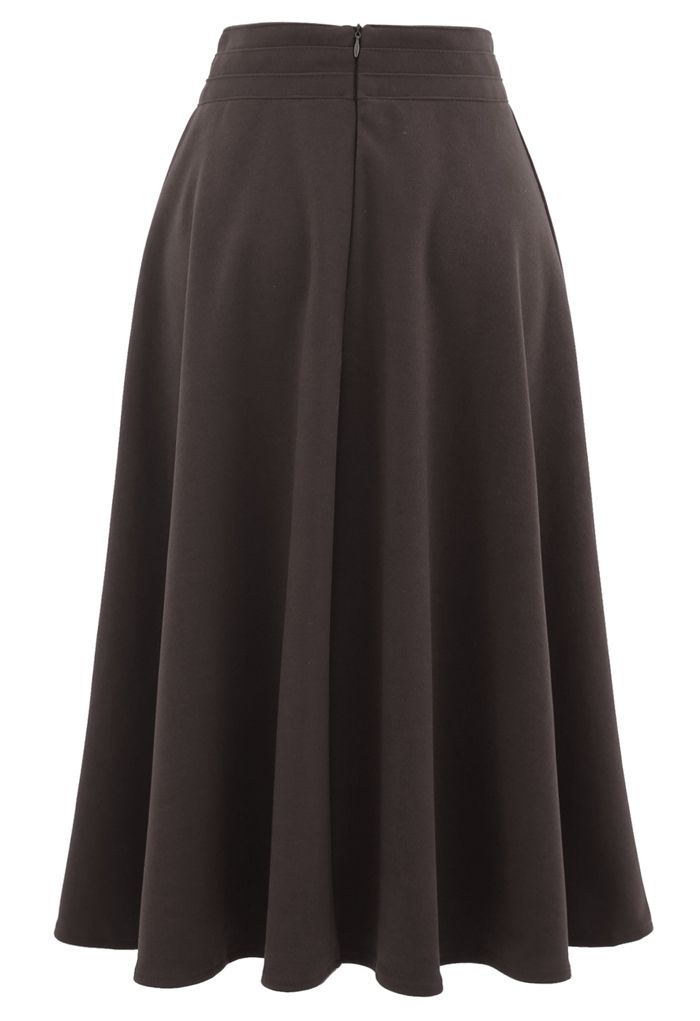 High Waist A-Line Flare Midi Skirt in Brown