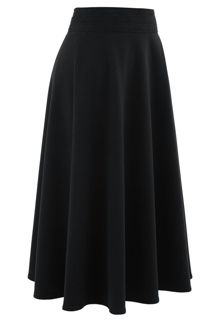 High Waist A-Line Flare Midi Skirt in Black
