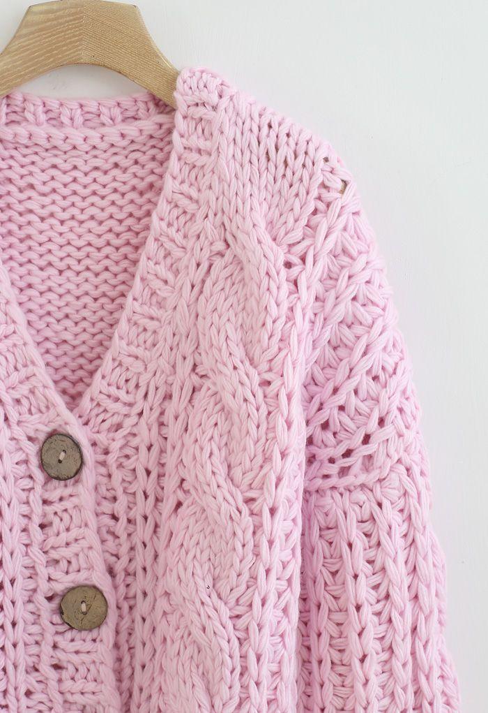 V-Ausschnitt Crop Hand-Strick Chunky Cardigan in Pink