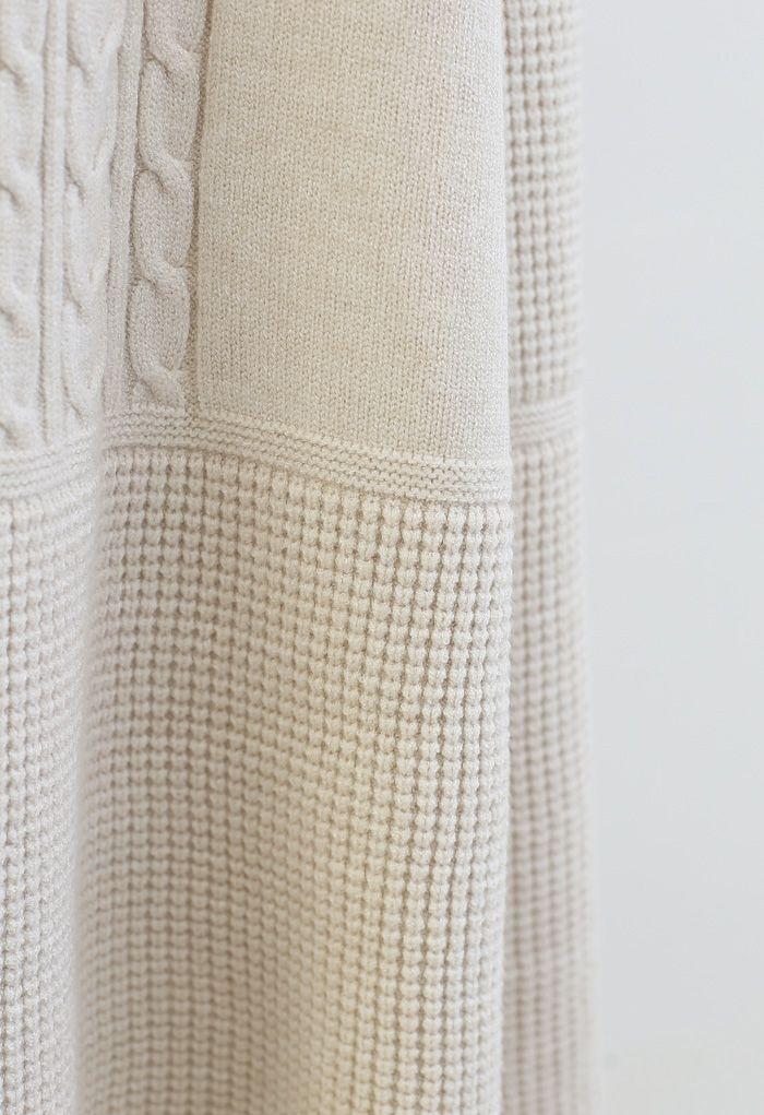 Braid Texture Soft Strick A-Linie Midirock in Creme
