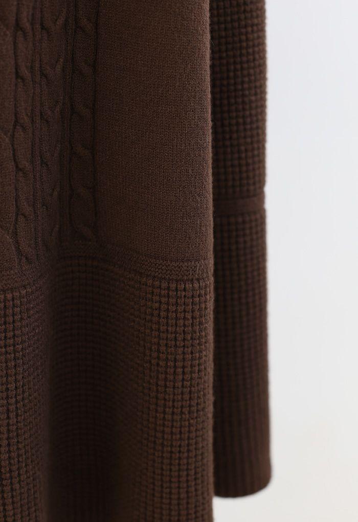 Braid Texture Soft Strick A-Linie Midirock in Braun