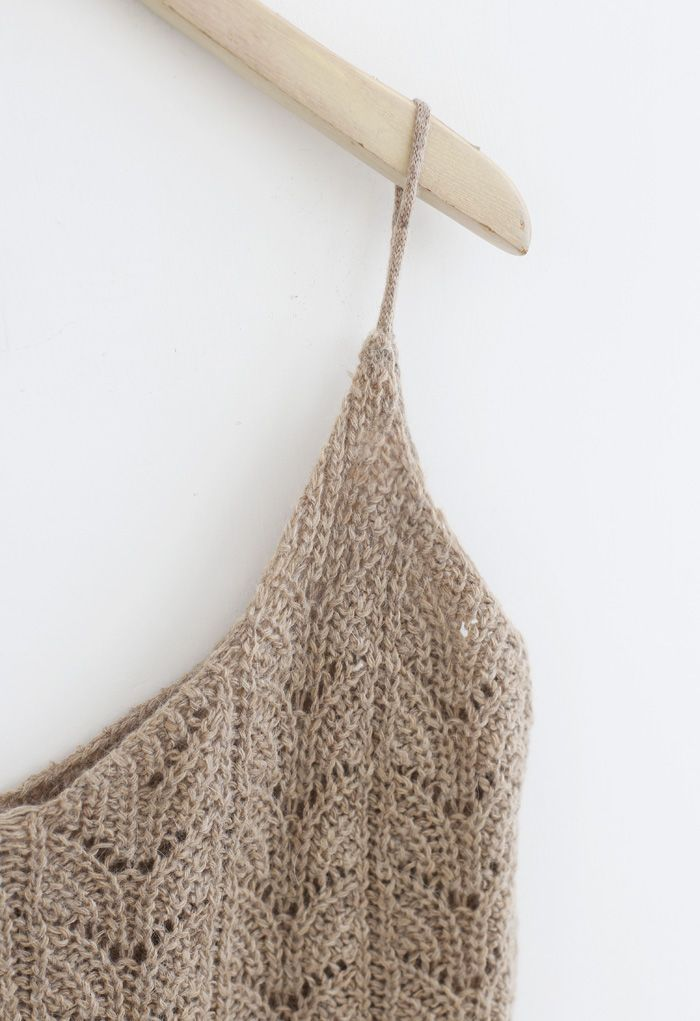 Hollow Out Knit Cami Top and Cardigan Set in Taupe