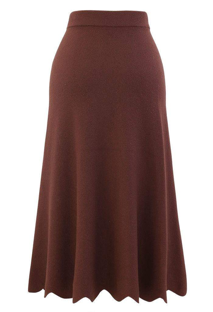 Scrolled Hem Button Knit Midi Skirt in Rust Red