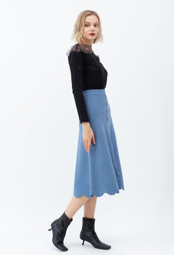Scrolled Hem Button Knit Midi Skirt in Blue