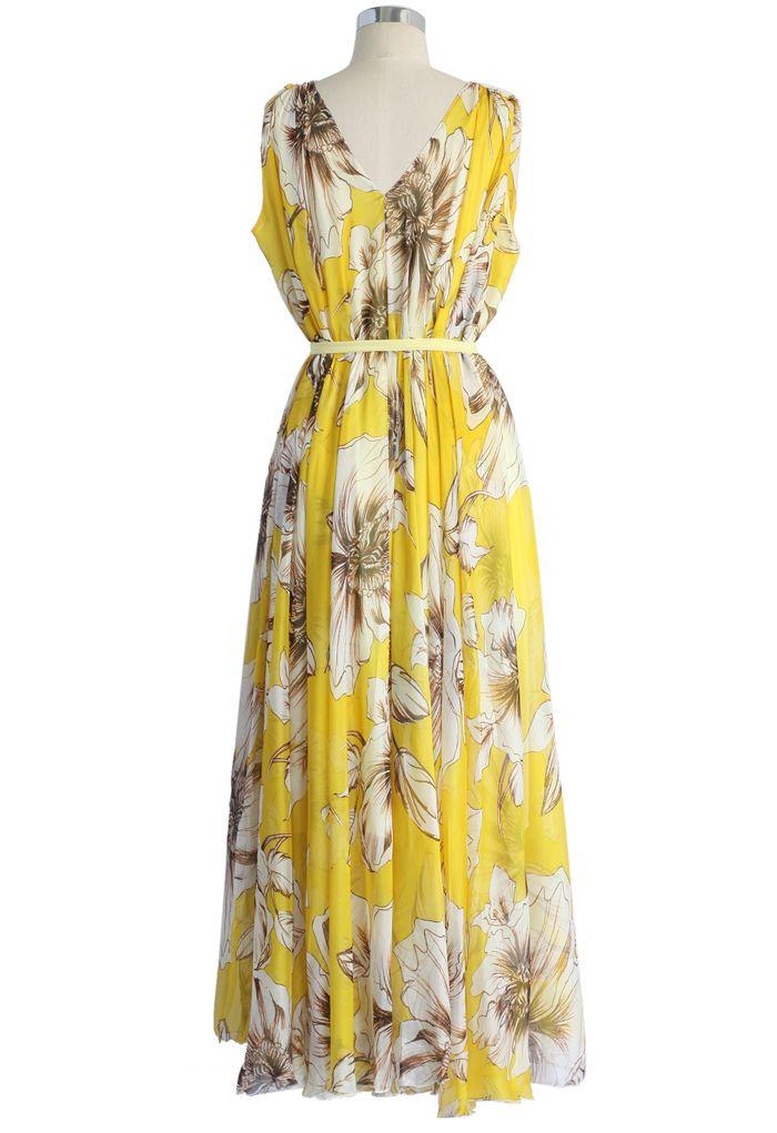 Wunderbare gelbe Blumen Chiffon langes Kleid