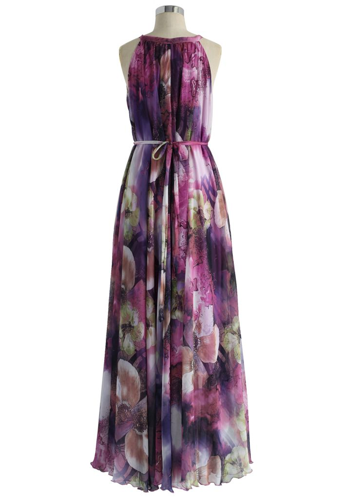 Langes lila Kleid Flowery Mysterious