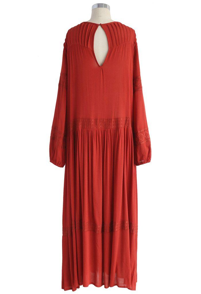 Boho Lightness - Langes besticktes Kleid