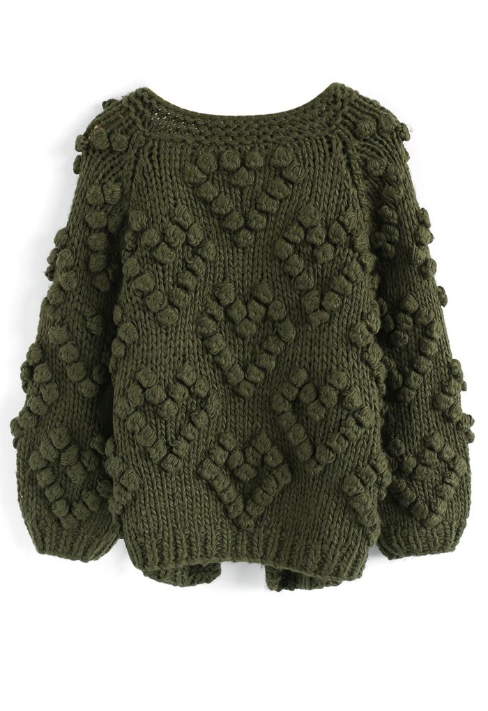 Knit Your Love - Strickjacke und Armee-Grün