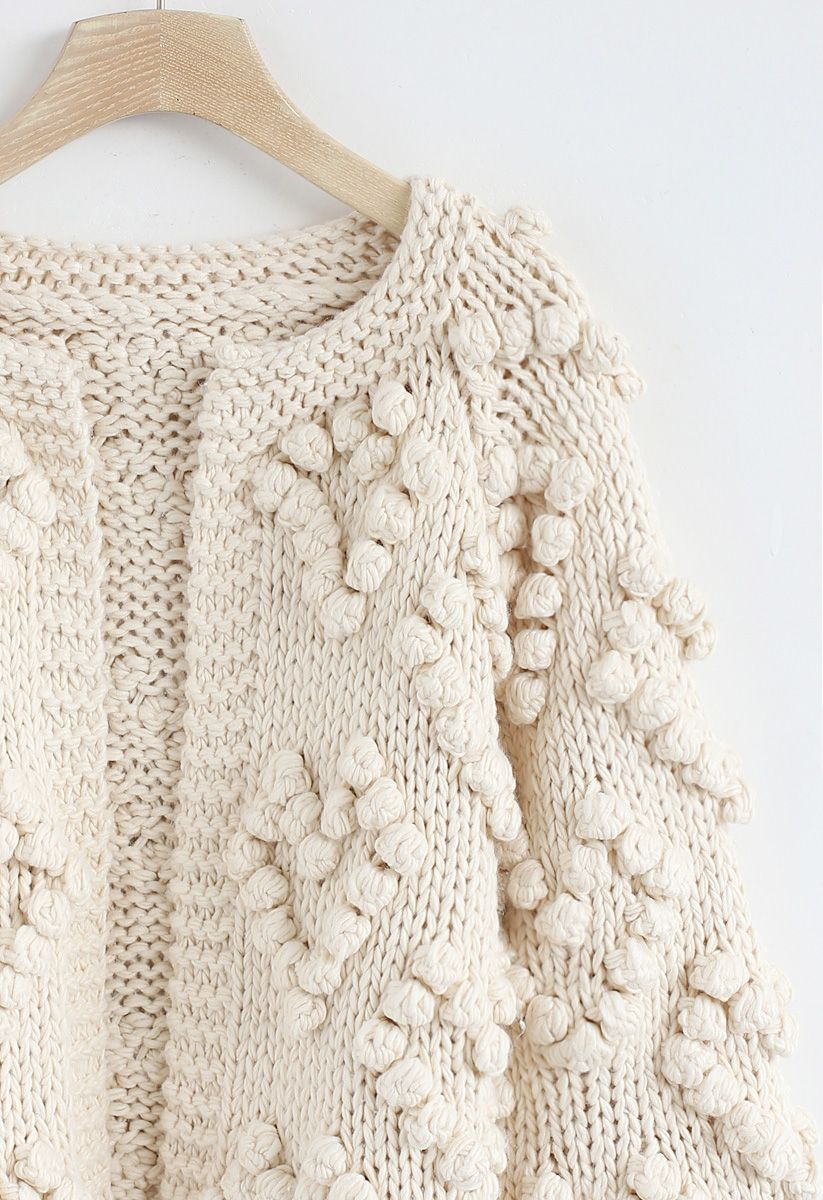 Knit Your Love- Strickjacke in Elfenbeinfarben