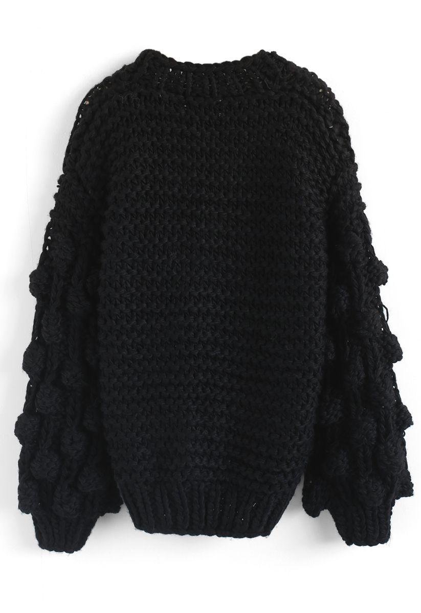 Süße Ärmel - Kuschelige schwarze Strickjacke