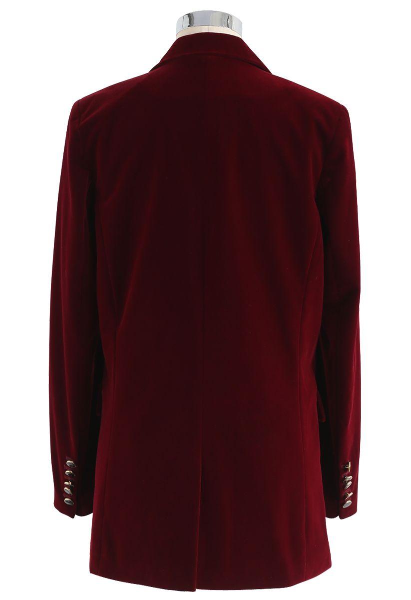 Noble elegancia - blazer de terciopelo en rojo vino