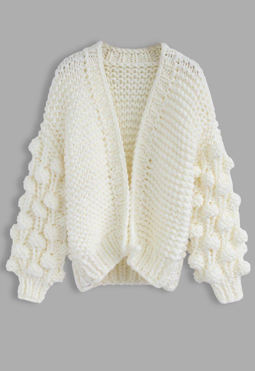 Süße Ärmel - Strickjacke in Weiß