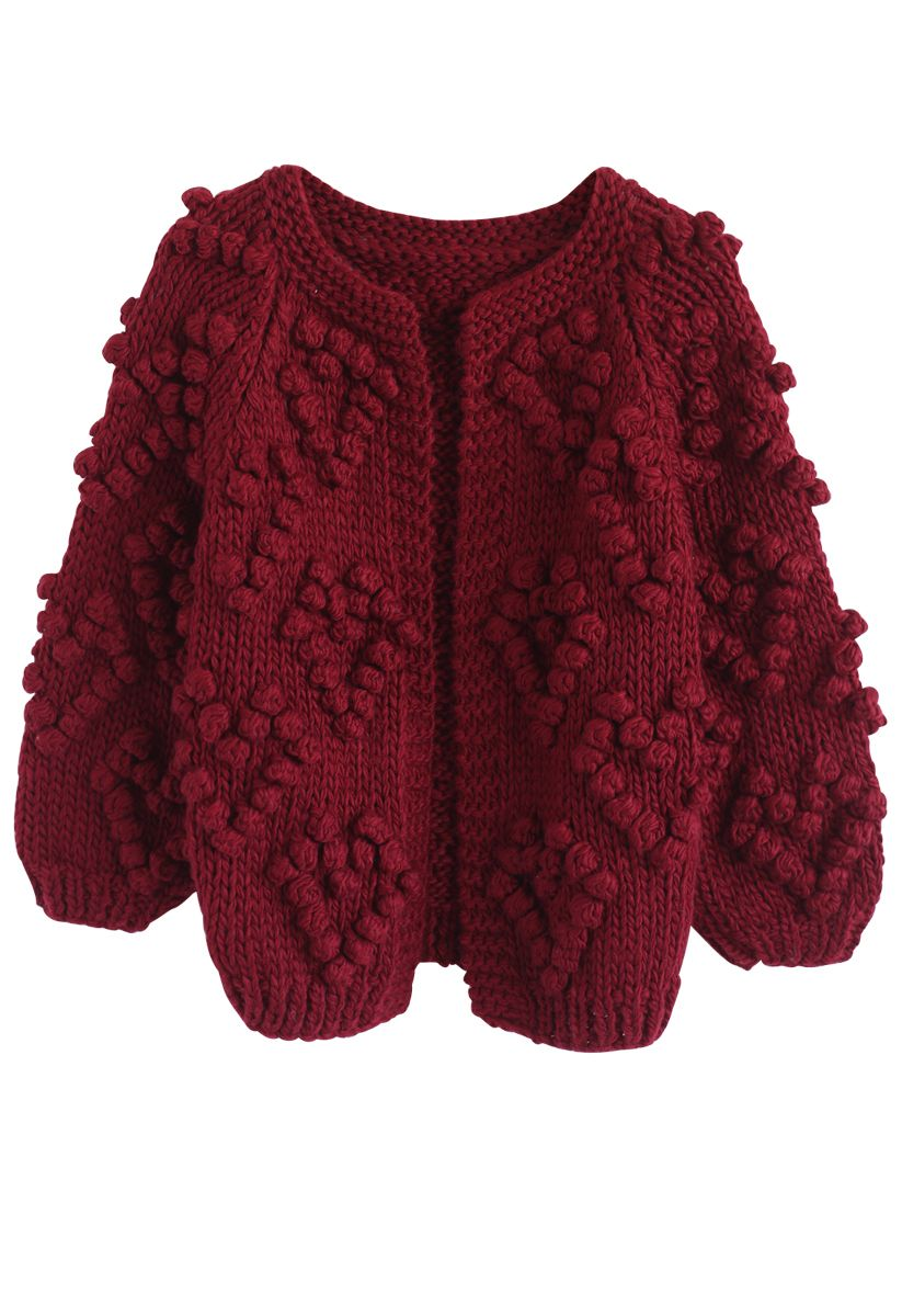 Knit Your Love - Weinrote Strickjacke
