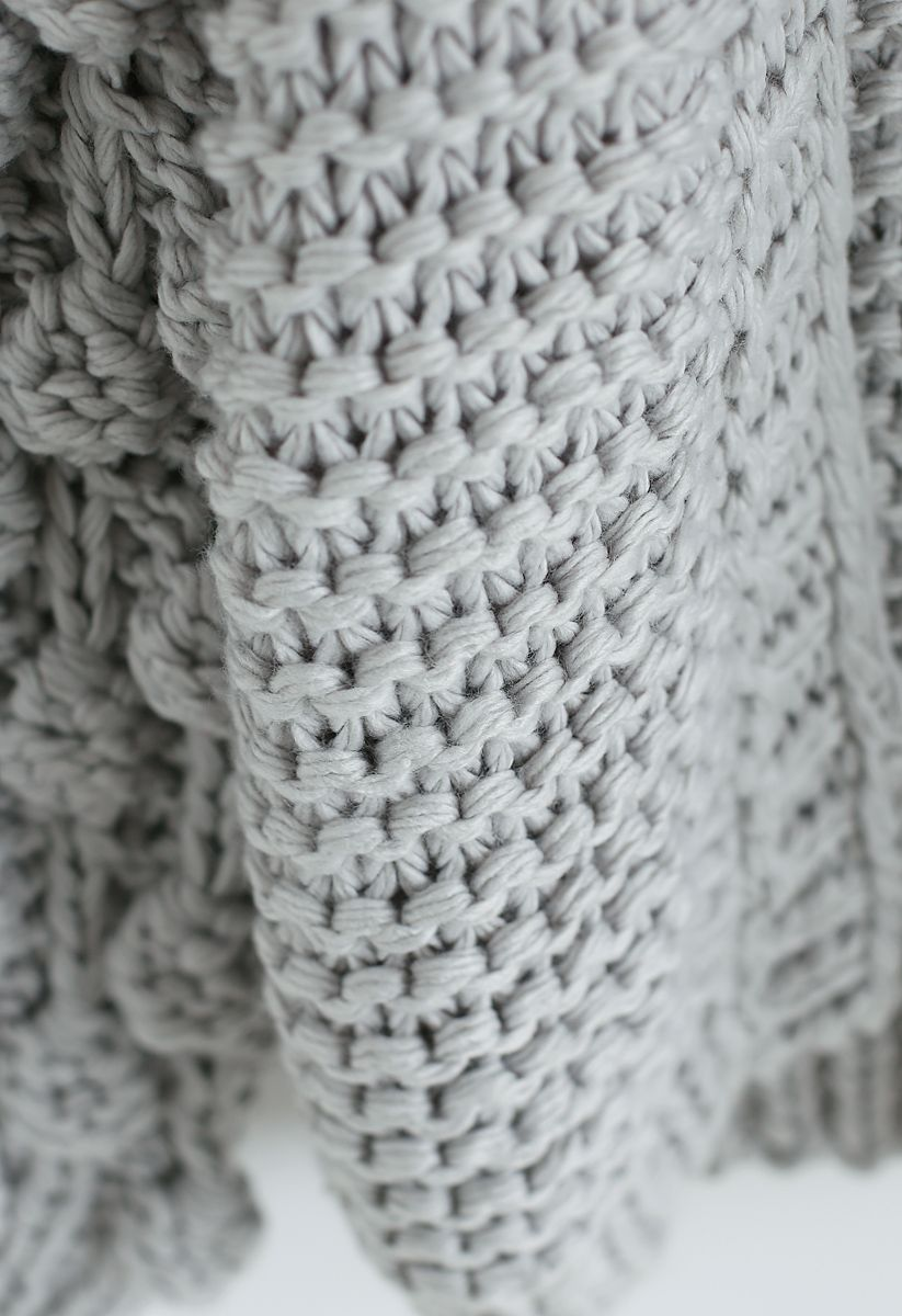 Süße Ärmel - Strickjacke in Grau