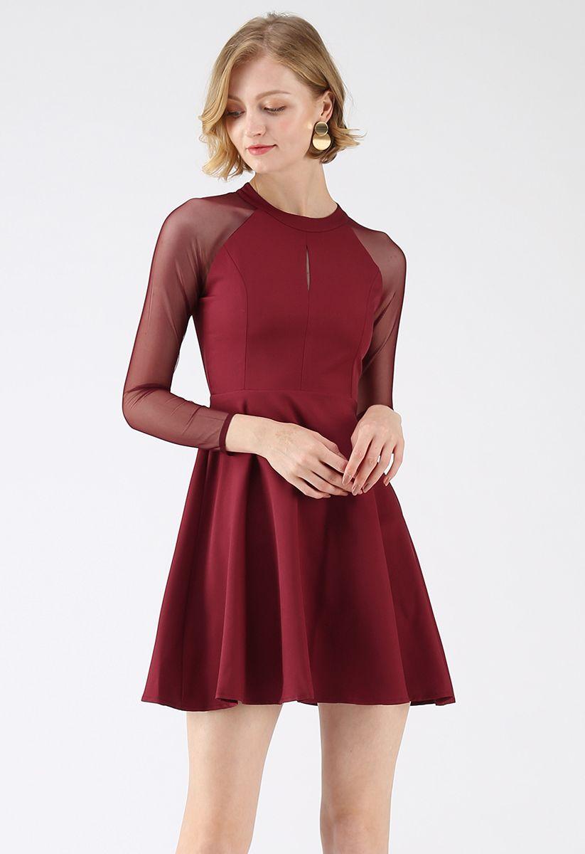 elegant edition mesh sleeves kleid in rot