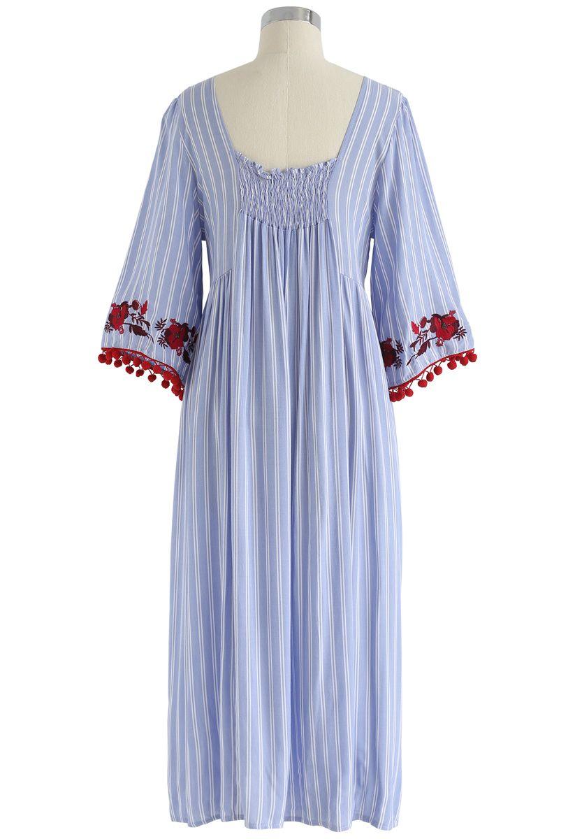 high hopes gestreiftes kleid mit blumenstickerei in blau