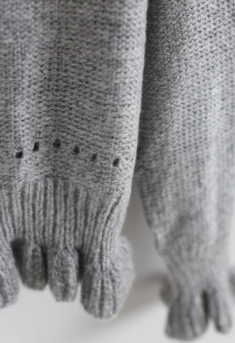 Stricken Sie einen grauen Chance Lively-Pullover mit V-Ausschnitt