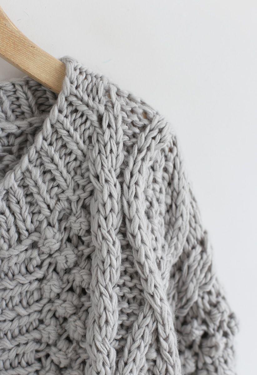 Winterlicher Morgen - Trikot de cable en gris