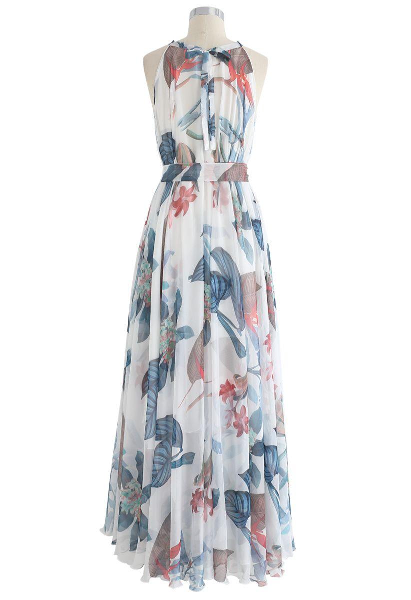 Acuarelas florales tropicales - Maxi Slip Dress en blanco