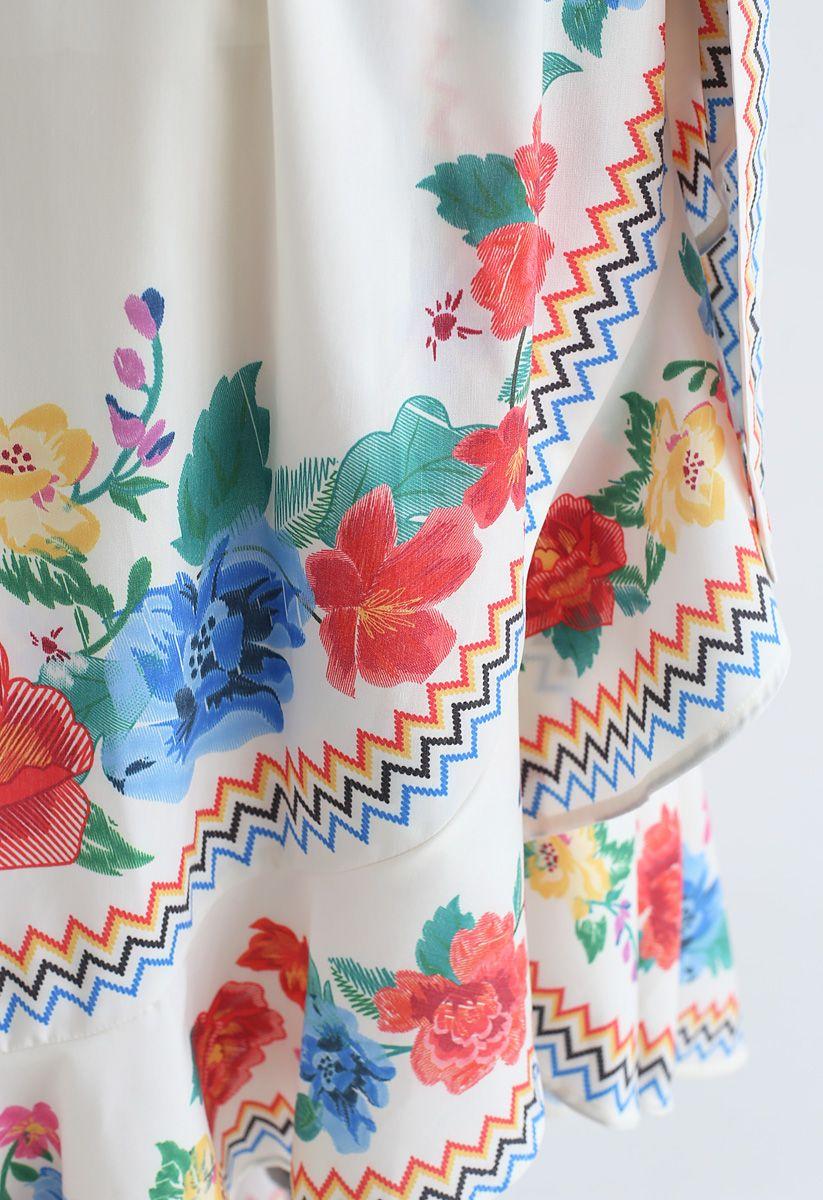 Sie werden sehen, Floral Asymmetric Waterfall Dress