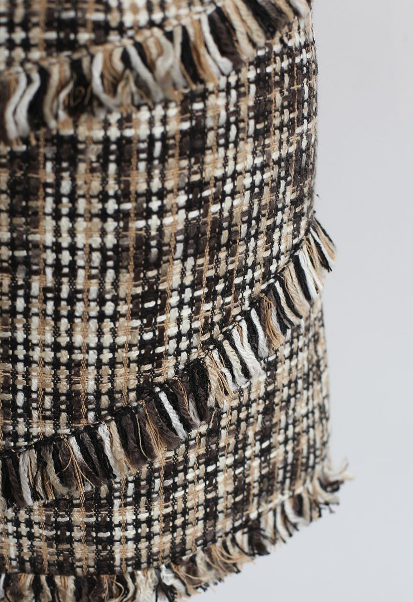 Tweed-Minirock mit Quaste