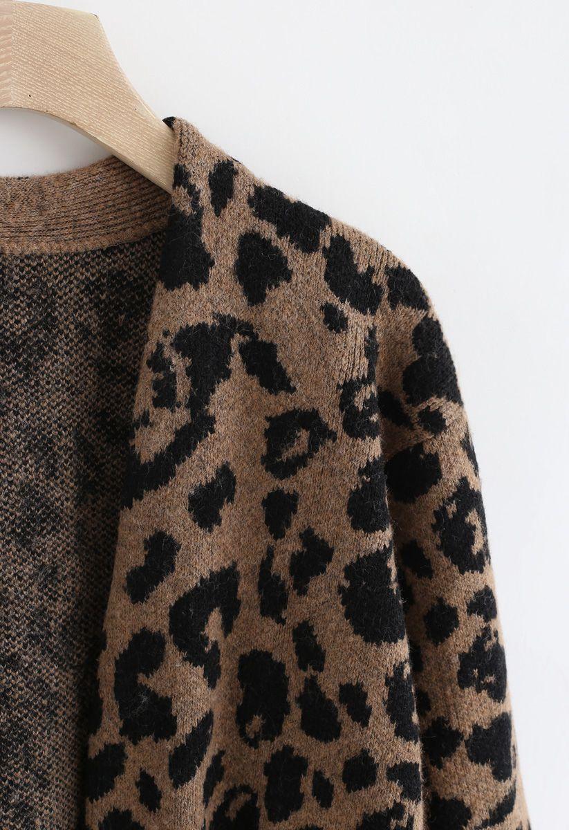 Leopard Pockets Longline Cardigan in Braun