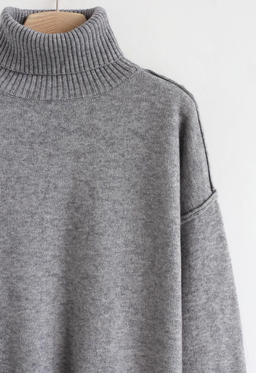 Soft Touch Basic Strickpullover mit Wasserfallausschnitt in Grau