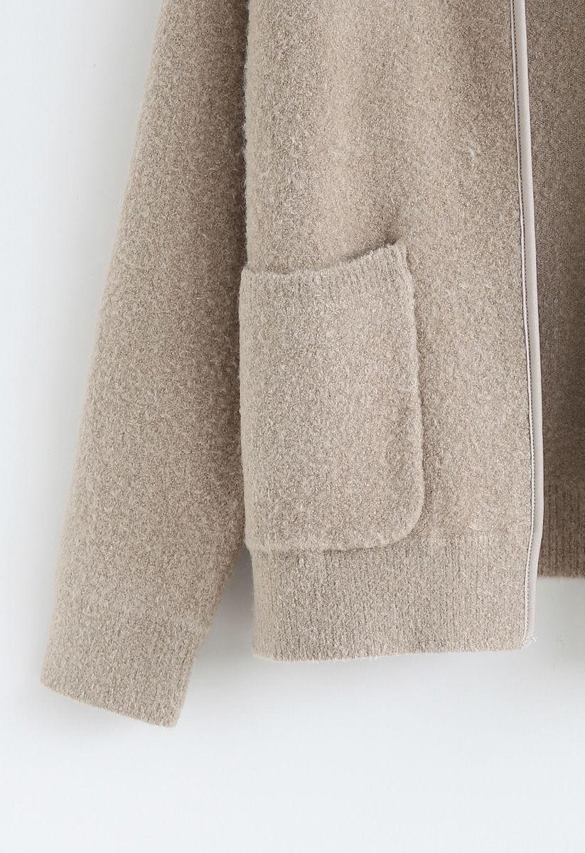 Cardigan mit Taschen und offener Vorderseite in Hellbraun