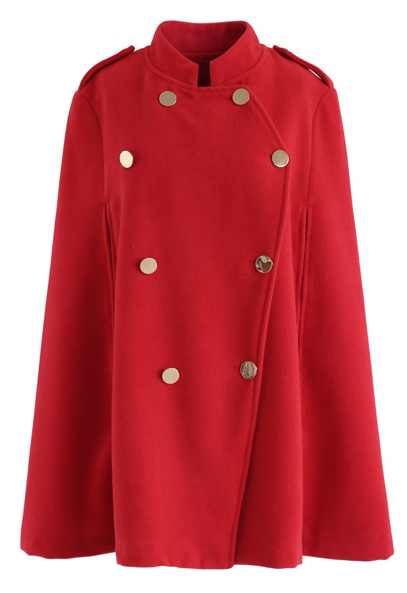 Zweireihiger Cape-Mantel in Rot