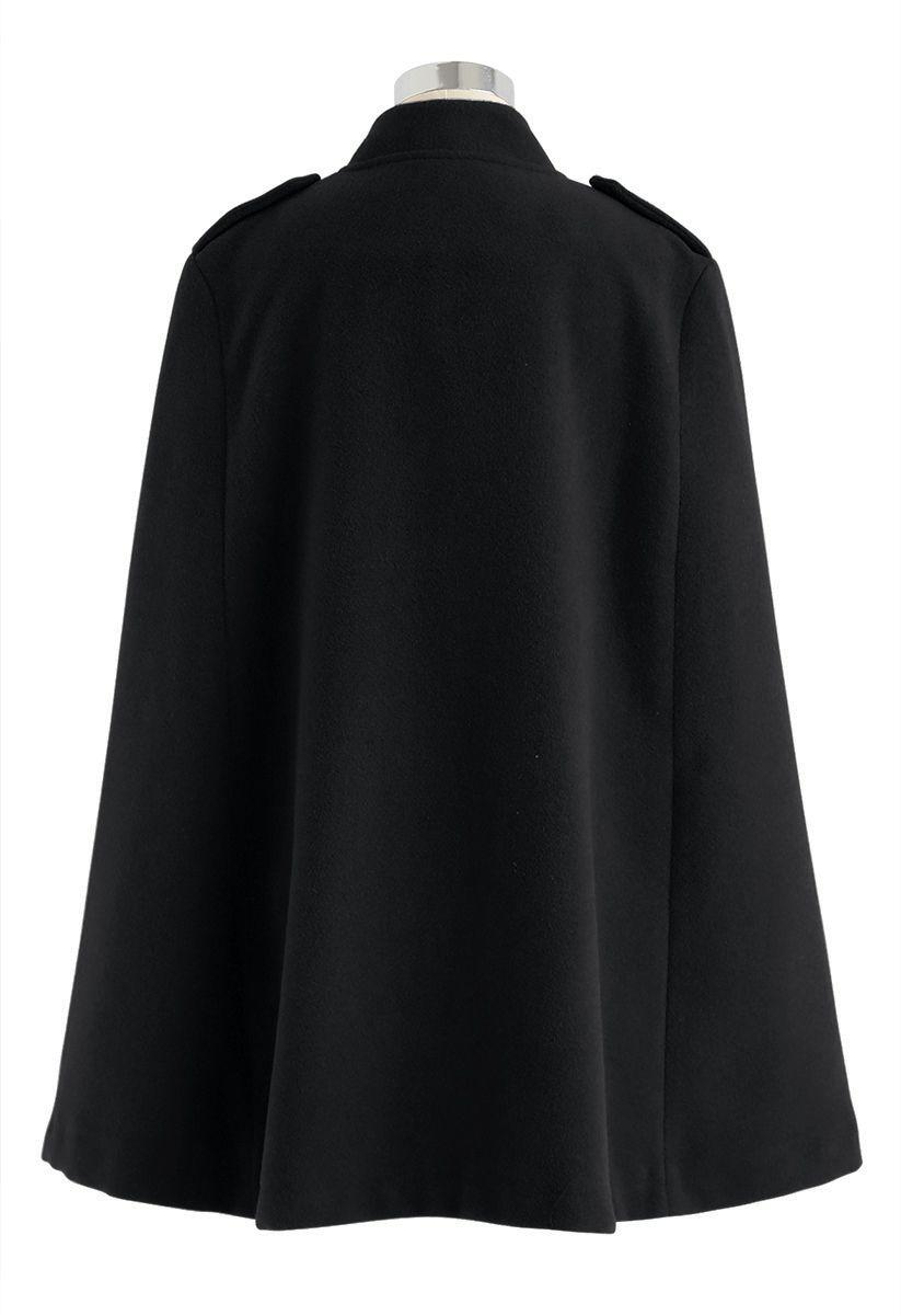 Zweireihiger Cape-Mantel in Schwarz