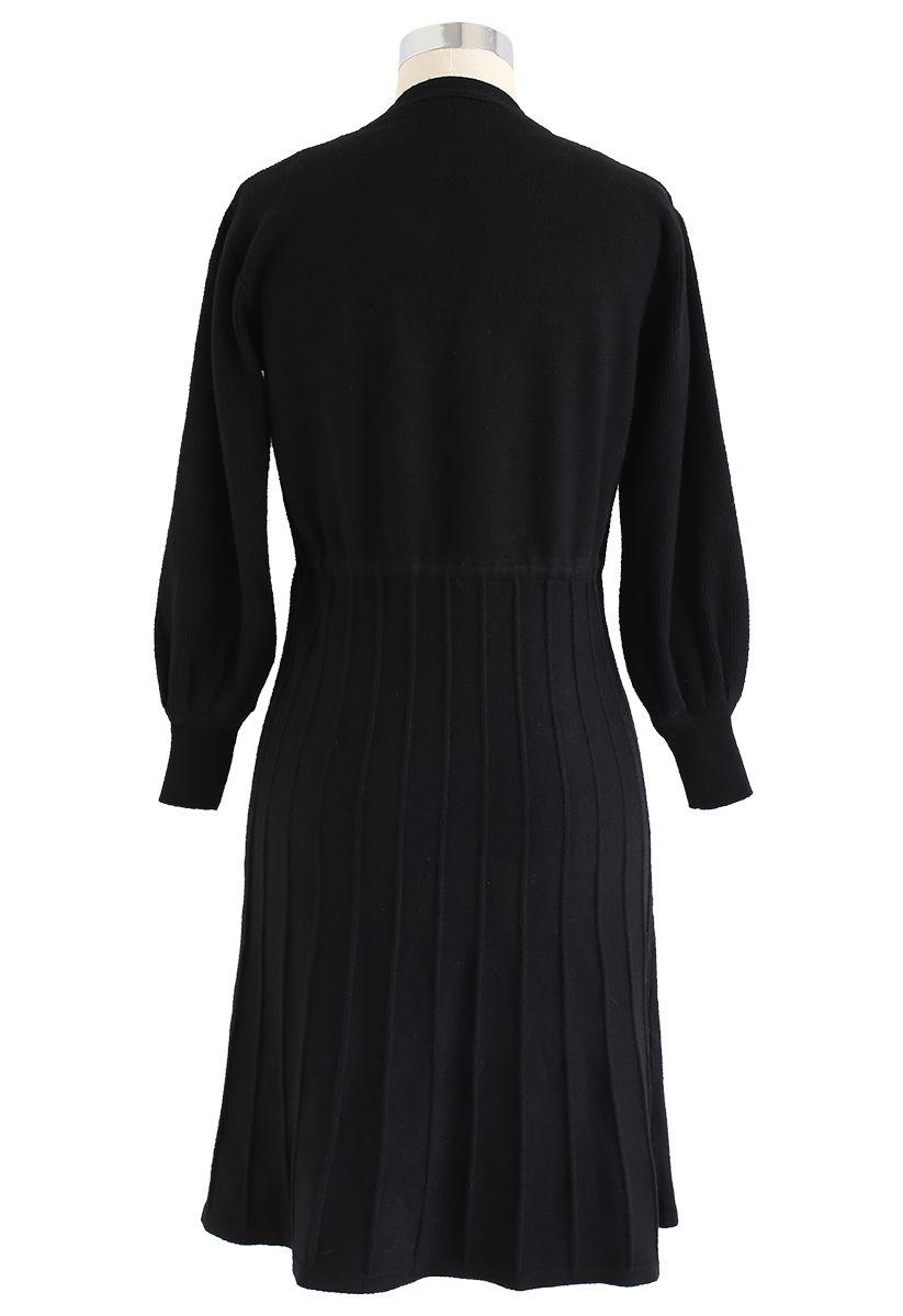 puffärmel drawstring plissee knit midi-kleid in schwarz