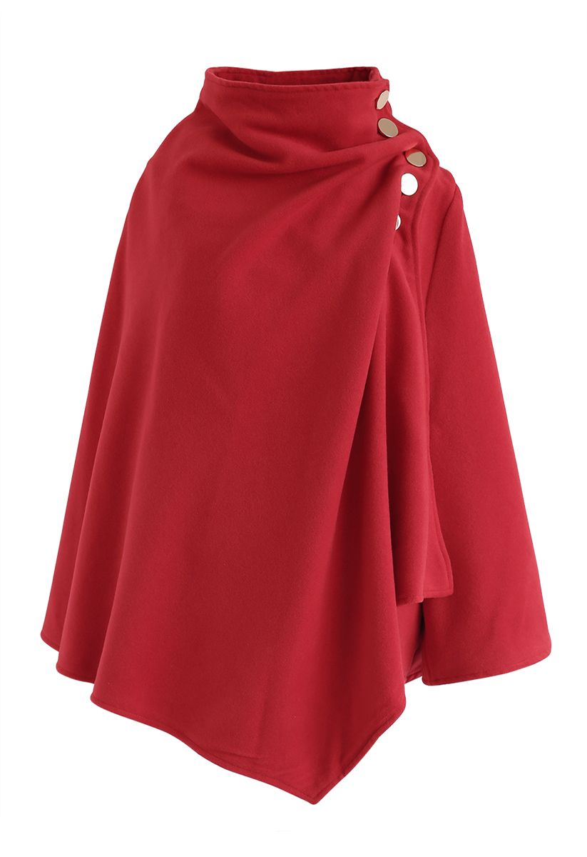 Asymmetric Hem Button Wrap Cape Mantel in Rot