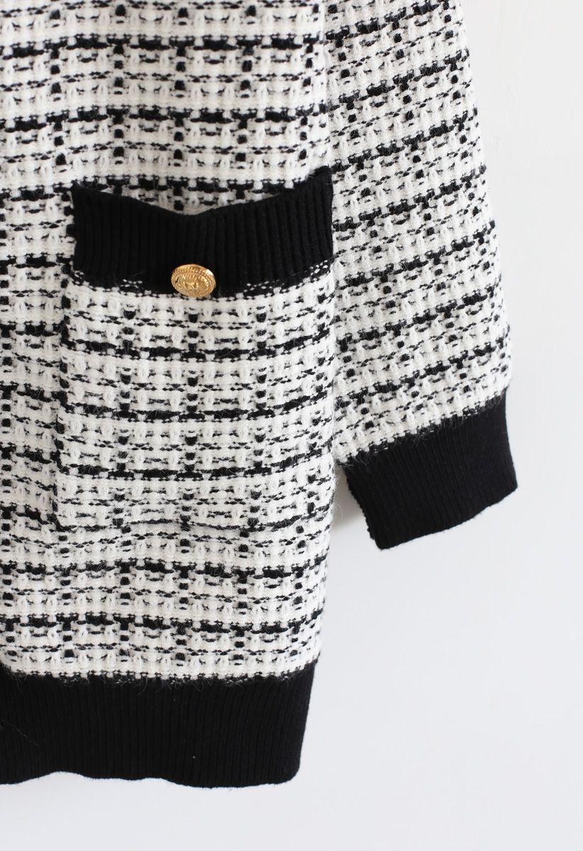 Pockets Button Trim Strickjacke in Weiß