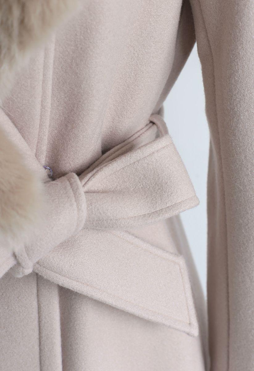 Kunstpelzkragen Belted Flare Coat in Nude Pink