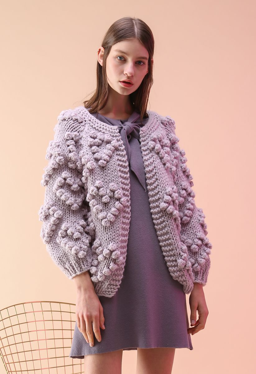 Knit Your Love - Cardigan in lila Farben