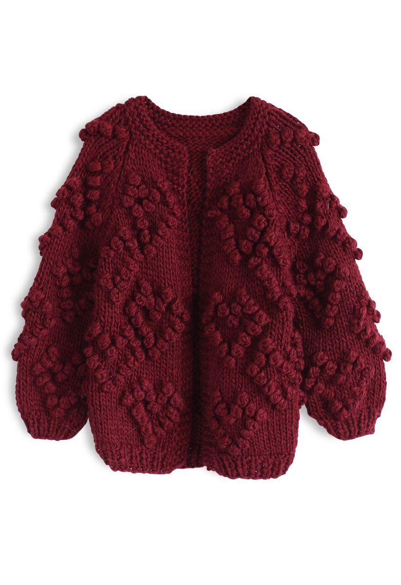 Knit Your Love - Strickjacke für Kinder in Weinrot