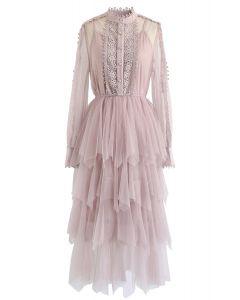 Lacy Sleeves Tiered Mesh Kleid in Pink
