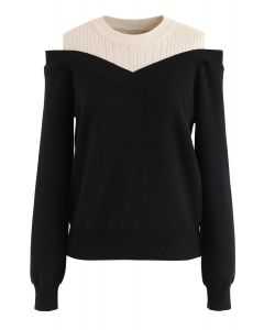 Bicolor Ribbed Knit Top in Schwarz