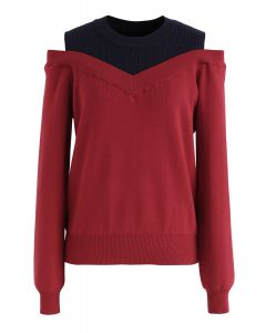 Bicolor Ribbed Knit Top in Rot