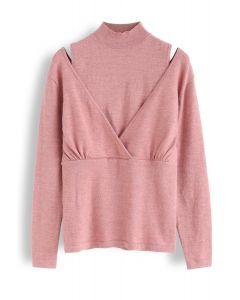 Gefälschtes zweiteiliges Mock Neck Wrap Knit Top in Pink