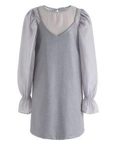 Semi-Sheer Puff Sleeves Top und Kunstleder Cami Kleid Set in Grau